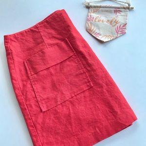 Gap Linen Coral 2 Pocket Skirt Size 8